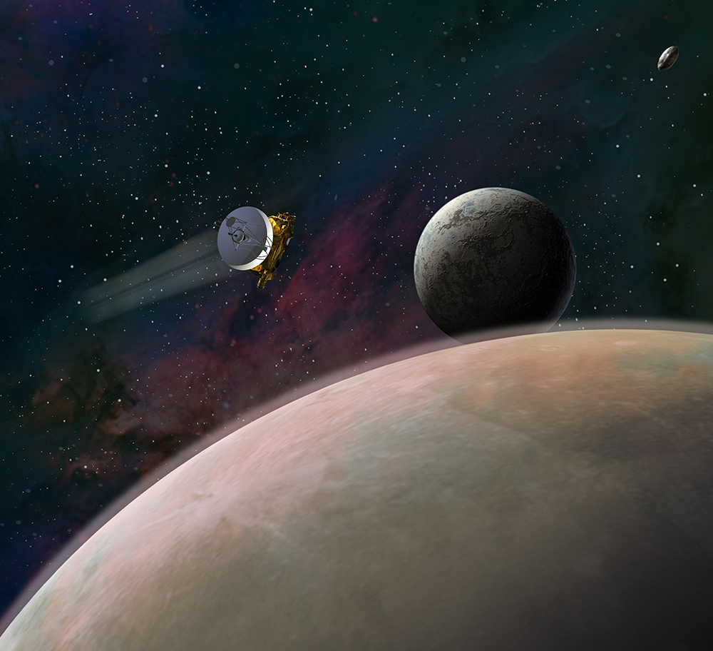Artist's concept of the New Horizons spacecraft at Pluto. Credit: JHUAPL