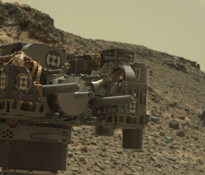 The mast camera on the Curiosity Mars rover captured this raw color view of the craft's drill after collecting a rock powder sample Feb. 24. Credit: NASA/JPL-Caltech/MSSS