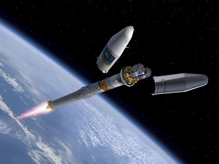 Artist's concept of two Galileo satellites launching aboard a Soyuz rocket. Credit: ESA–J. Huart, 2014