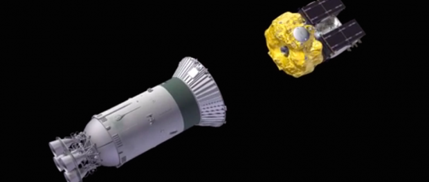 The Soyuz rocket's third stage releases the Fregat-MT upper stage just shy of orbital velocity.