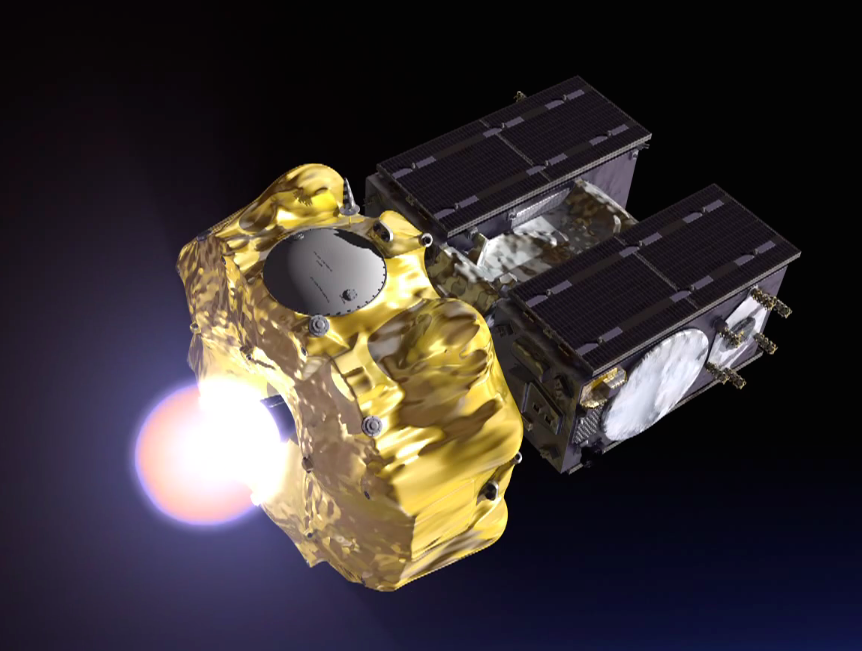 The hydrazine-fueled Fregat upper stage ignites to place the Galileo satellites in an elliptical transfer orbit.