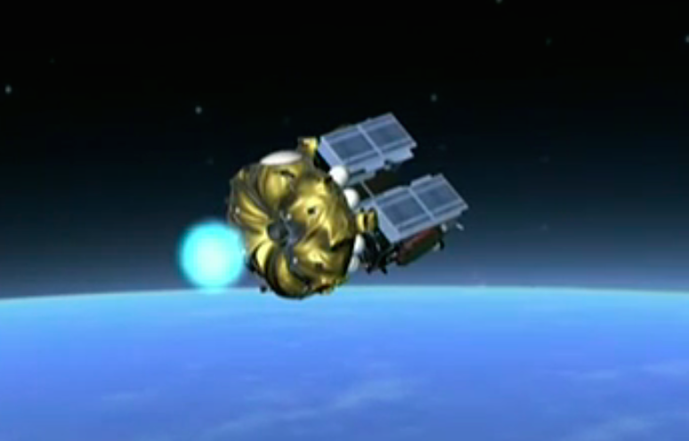 The Fregat main engine ignites to circularize its orbit before deployment of the two Galileo satellites.