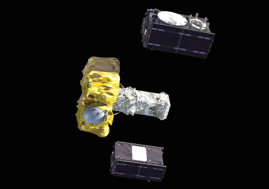 The two Galileo navigation satellites deploy from a dispenser on the Fregat upper stage.