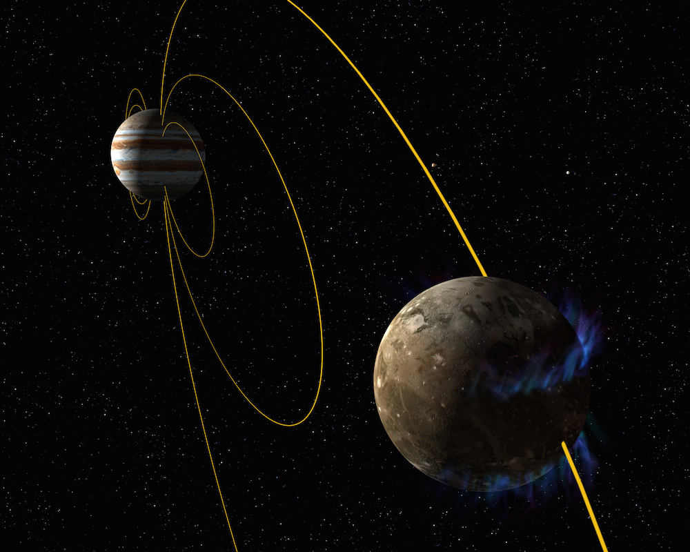 In this artist's concept, the moon Ganymede orbits the giant planet Jupiter. NASA's Hubble Space Telescope observed aurorae on the moon controlled by Ganymede's magnetic fields. This field is embedded in Jupiter's own immense magnetosphere (yellow field lines). A saline ocean under the moon's icy crust reduces shifting in the auroral belts as measured by Hubble. Credit: NASA/ESA
