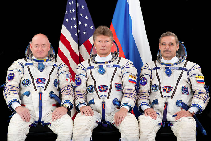 NASA astronaut Scott Kelly and Russian cosmonauts Gennady Padalka and Mikhail Kornienko are set for launch March 27 from the Baikonur Cosmodrome in Kazakhstan. Credit: NASA/GCTC