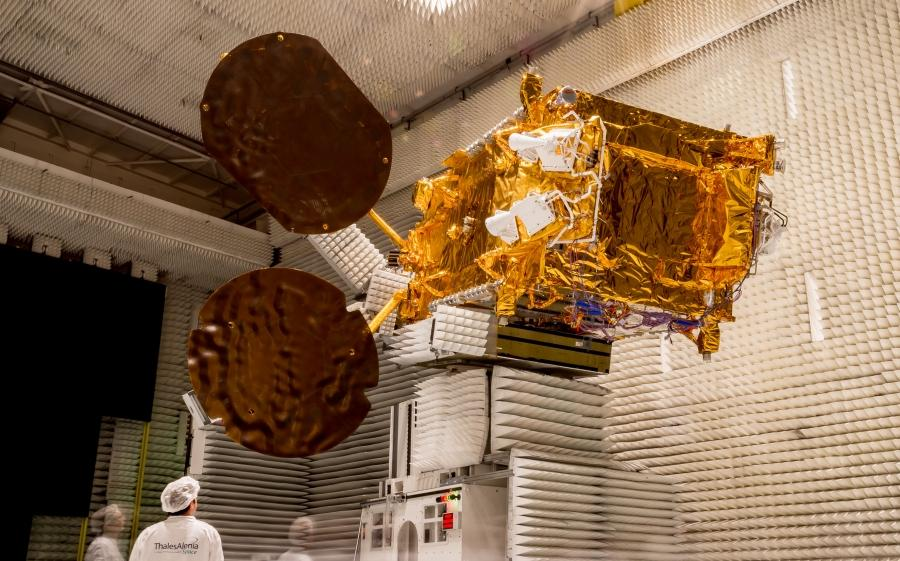 The TurkmenAlem52E/MonacoSat spacecraft inside a test chamber at Thales Alenia Space's facility in Cannes. Credit: Thales Alenia Space