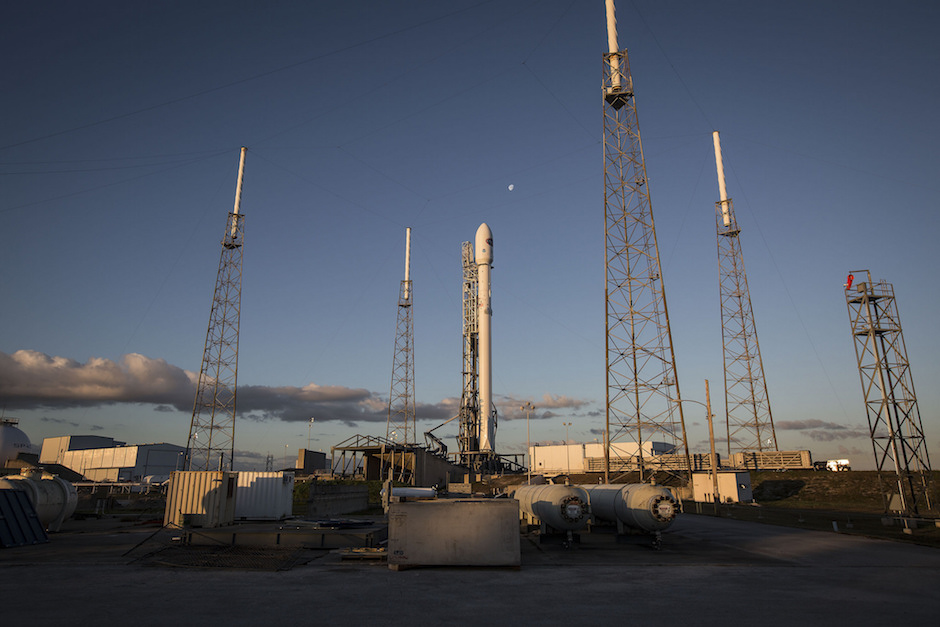 File photo of a Falcon 9 rocket on Cape Canaveral's Complex 40 launch pad. Credit: SpaceX