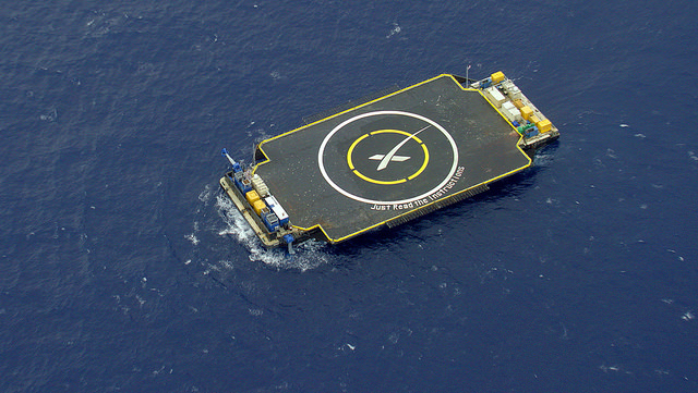 """SpaceX's rocket landing platform -- christened """"Just Read the Instructions -- is on location in the Atlantic Ocean for Monday's launch. Credit: SpaceX"""