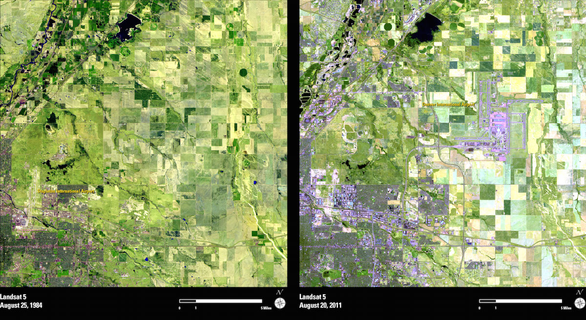 Two images recorded by the Landsat 5 satellite in 1984 and 2011 show the expansion of Denver, Colorado, and the construction of the Denver International Airport. Credit: USGS/NASA