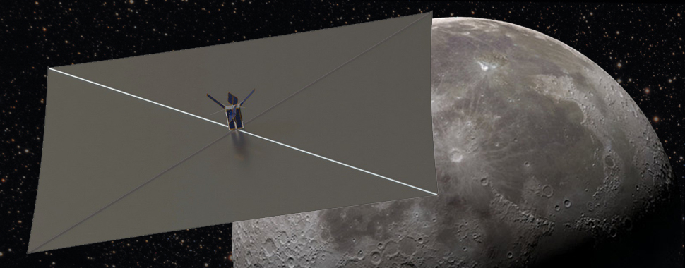 Artist's concept of the Lunar Flashlight CubeSat at the moon. Credit: NASA