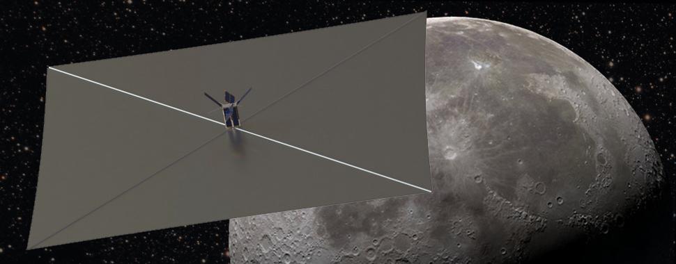 Artist's concept of the Lunar Flashlight CubeSat at the moon. Credit: NASA