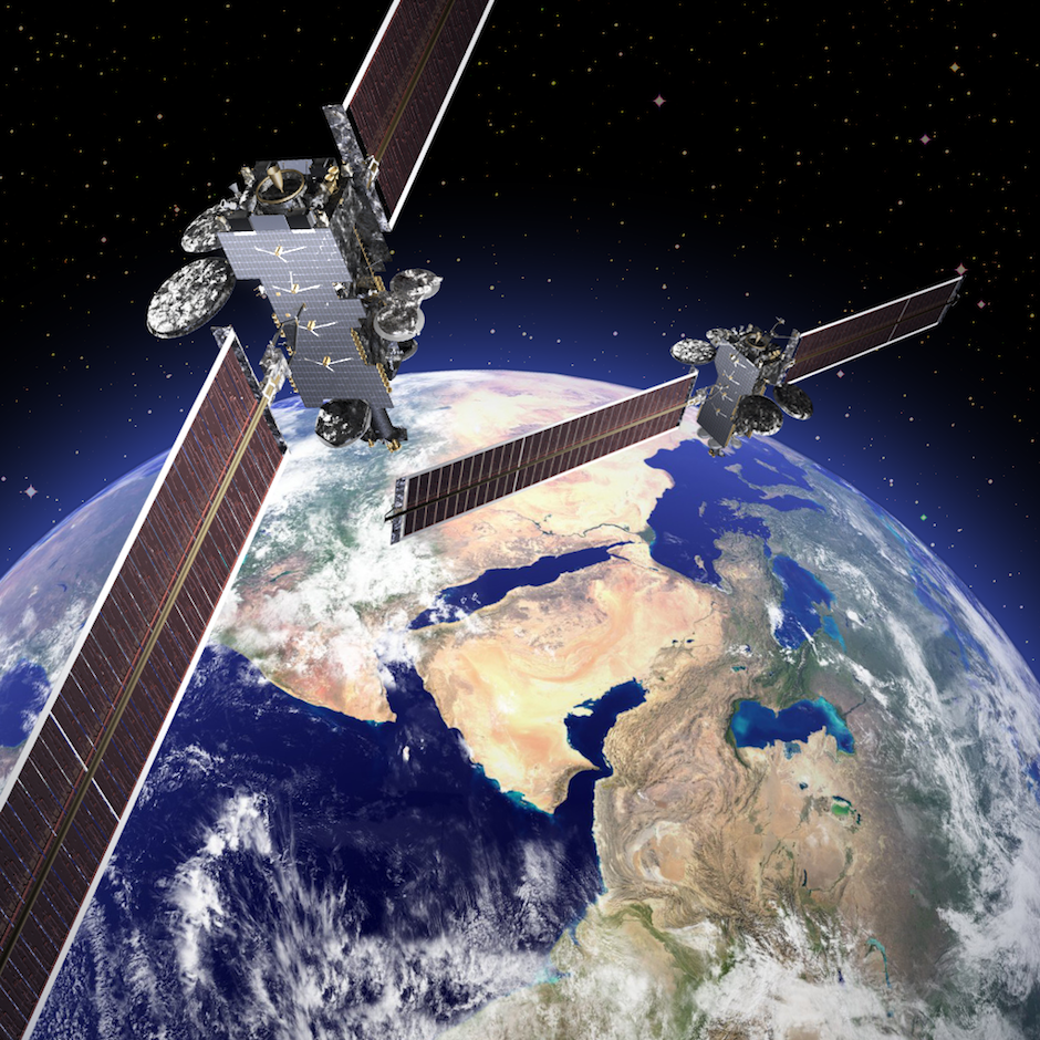 Artist's concept of the Lockheed Martin-built Arabsat 6A and HellasSat 4/SaudiGeoSat 1 satellites. Credit: Lockheed Martin