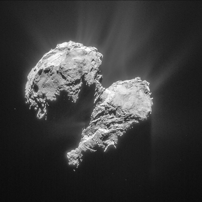 This view of comet 67P/Churyumov-Gerasimenko was taken by Rosetta's navigation camera on March 22, showing a cloud of dust and gas surrounding the nucleus. Credit: ESA/Rosetta/NAVCAM