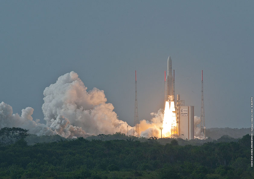 The Ariane 5 rocket blasts off from Kourou, French Guiana, at 2000 GMT (4 p.m. EDT; 5 p.m. local time). Credit: ESA/CNES/Arianespace – Optique Video du CSG – S. Martin