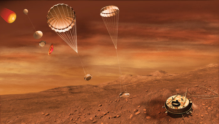 Artist's concept of ESA's Huygens lander, which descended to Titan's surface in January 2005. Credit: ESA-C. Carreau