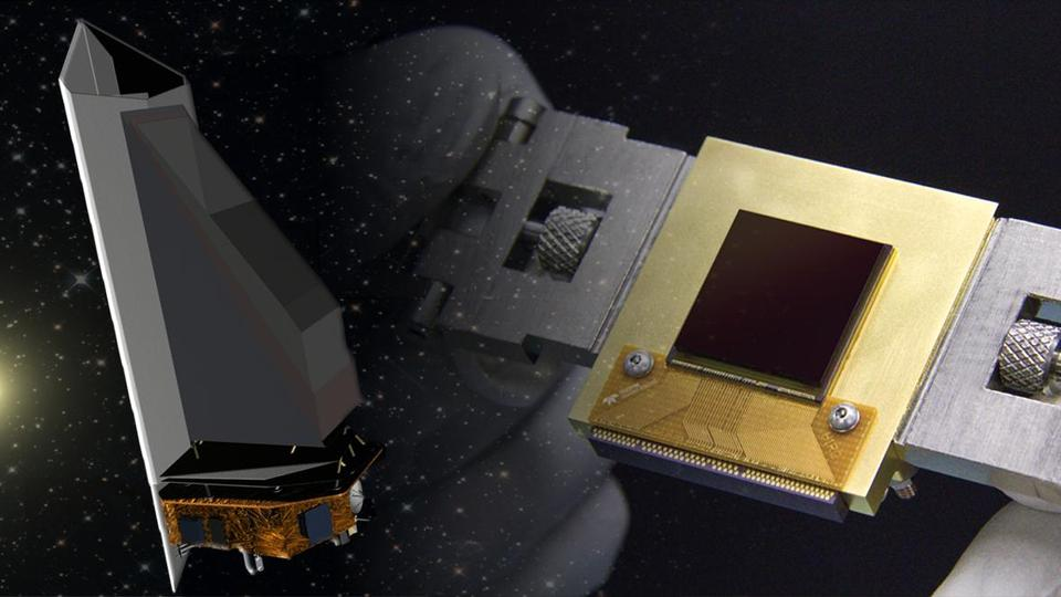 Artist's concepts of the NEOCam spacecraft (left) and camera sensor (right). Credit: NASA/JPL-Caltech