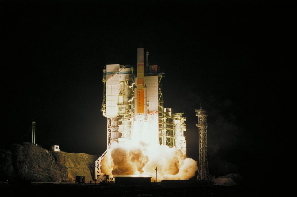 TRMM launched on Nov. 27, 1997, aboard a Japanese H-2 rocket. Credit: JAXA