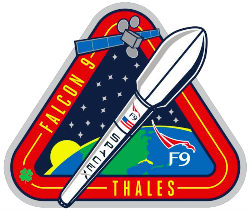SpaceX's mission patch for the Falcon 9 launch with TurkmenAlem52E/MonacoSat. Credit: SpaceX