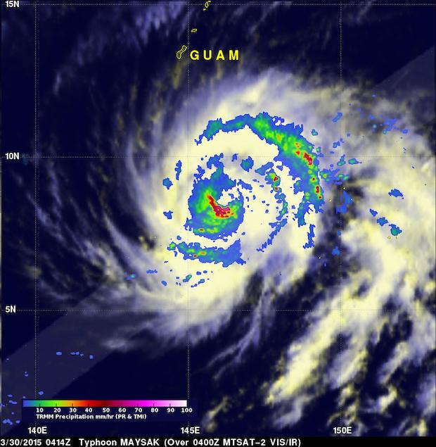 In one of TRMM's final radar passes, the spacecraft observed Typhoon Masak on March 30 in the Pacific Ocean. Credit: NASA/JAXA/TRMM