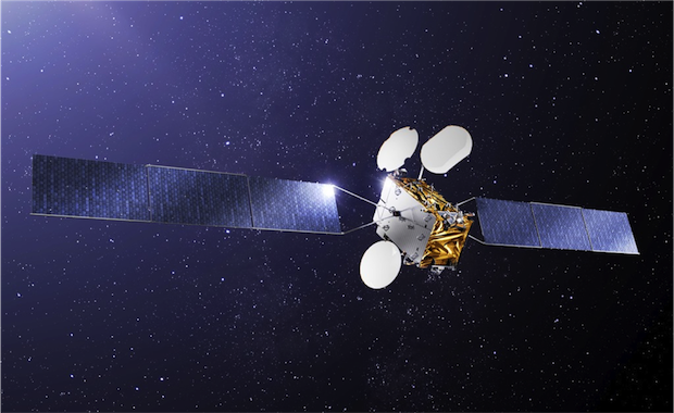 Artist's concept of the TurkmenAlem52E/MonacoSat spacecraft. Credit: SSI-Monaco