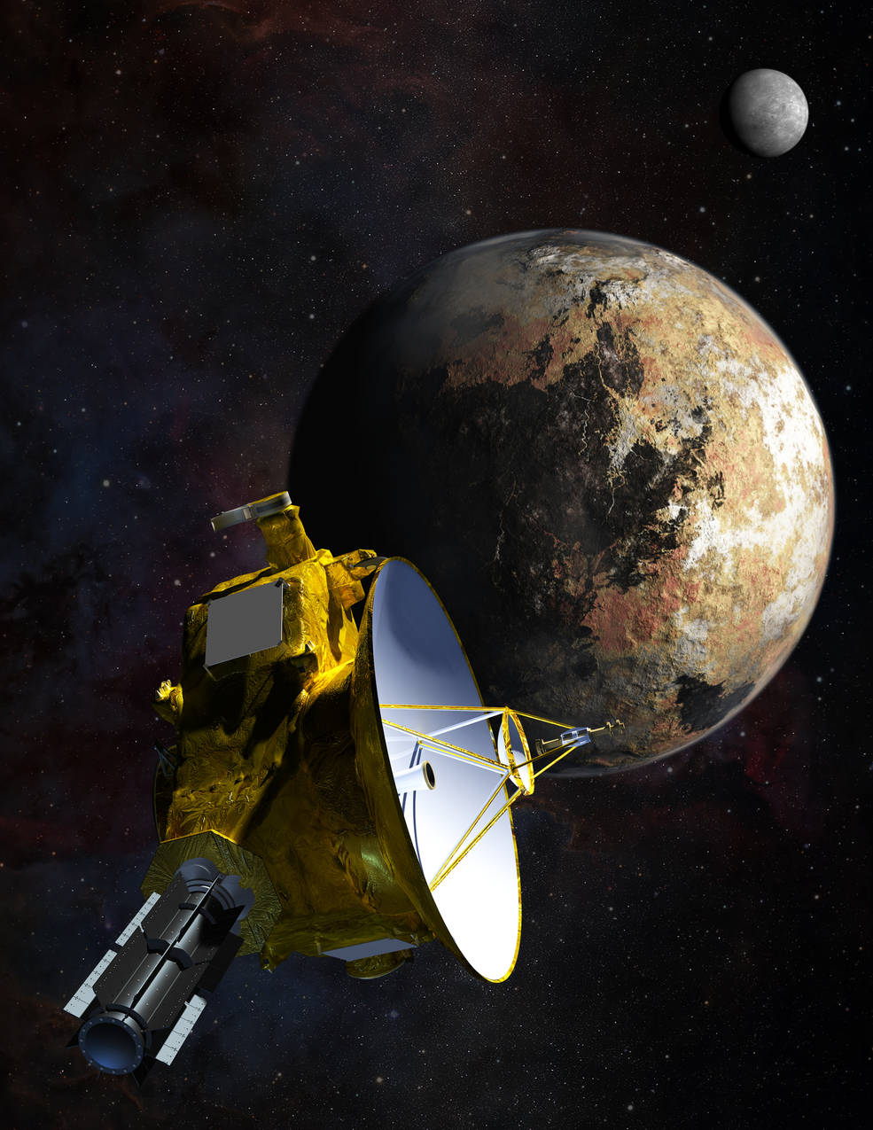 Artist's concept of the New Horizons spacecraft during the Pluto flyby. Credit: JHUAPL/SWRI