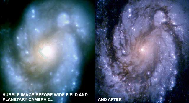 Hubble's view of the M100 galactic nucleus before (left) and after (right) repairs to correct the telescope's deformed mirror. Credit: NASA/STScI/JPL