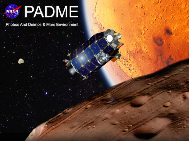 Artist's concept of the PADME spacecraft at Mars. The spacecraft is based on the LADEE probe sent to the moon in 2013. Credit: NASA/Ames Research Center