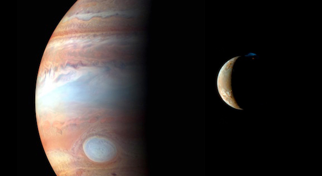 NASA's Pluto-bound New Horizons spacecraft collected images for this montage of Jupiter and its volcanic moon Io in 2007. Credit:  NASA/Johns Hopkins University Applied Physics Laboratory/Southwest Research Institute/Goddard Space Flight Center