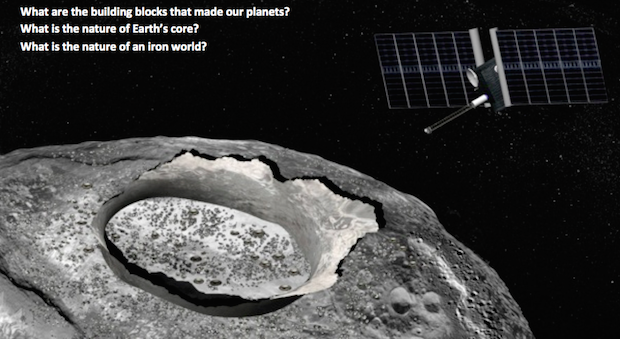 Artist's concept of a space mission visiting asteroid Psyche. Credit: JPL/Corby Waste