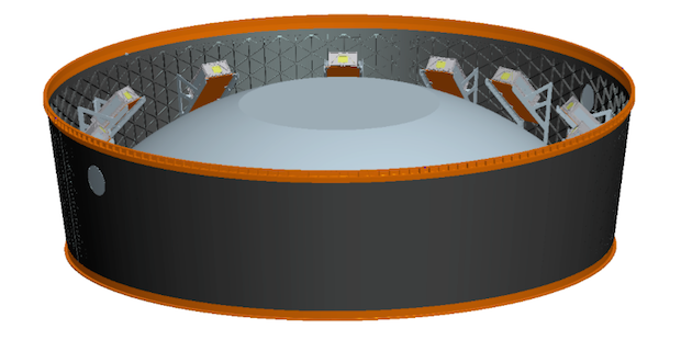 This rendering shows the accommodations for secondary CubeSat payloads on the adapter between the Space Launch System upper stage and the Orion spacecraft. Credit: NASA