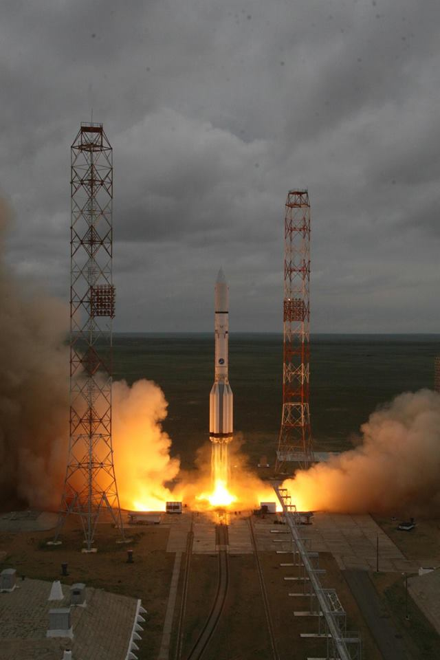 The Centenario satellite lifted off at 0547 GMT (1:47 a.m. EDT) Saturday on a Proton rocket. Credit: Roscosmos