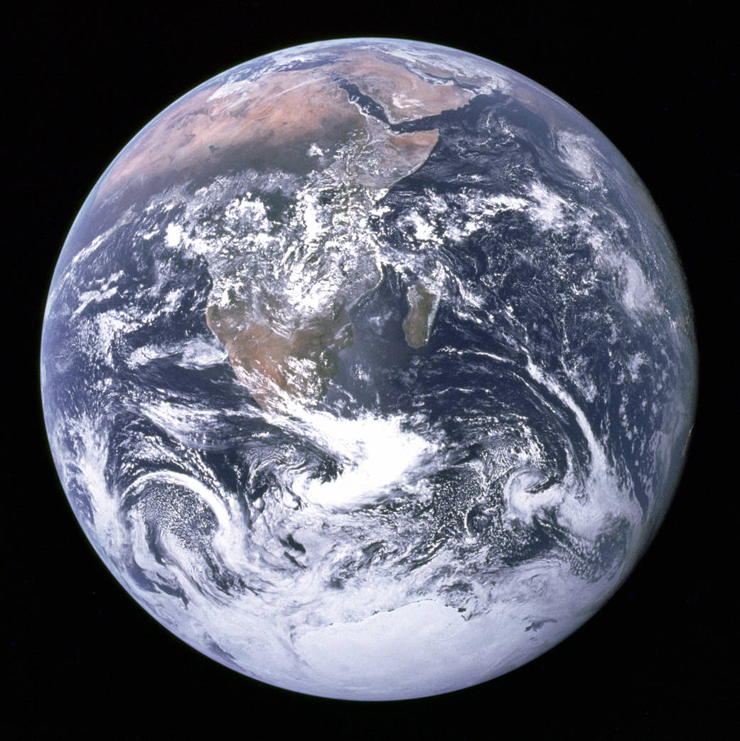 """NASA's famous """"blue marble"""" photo taken by astronauts on the Apollo 17 mission in 1972. Credit: NASA"""