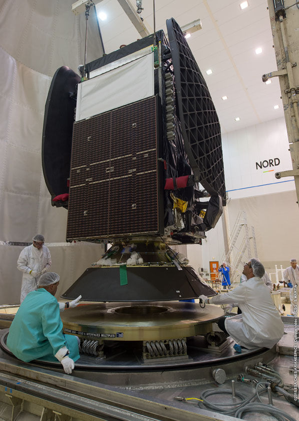 Technicians prepare the Sky Mexico 1 satellite for launch at the Guiana Space Center. Credit: ESA/CNES/Arianespace – Optique Video du CSG – S. Martin