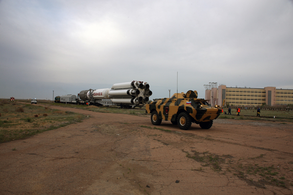 The Proton rocket rolls out to its launch pad at the Baikonur Cosmodrome ahead of Saturday's liftoff. Credit: Khrunichev