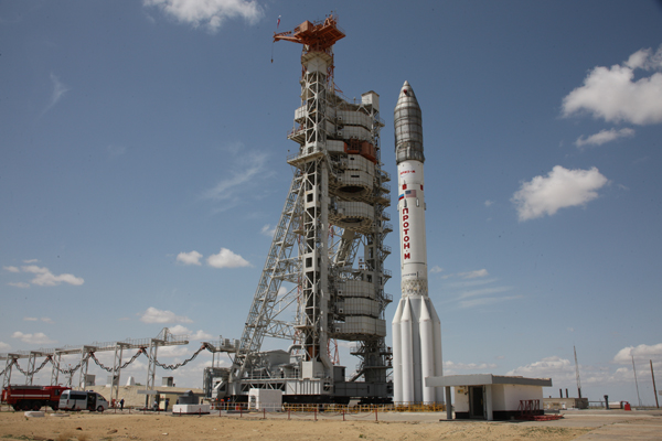 A Russian Proton rocket is ready for launch at 0547 GMT (1:47 a.m. EDT) Saturday. Credit: Khrunichev