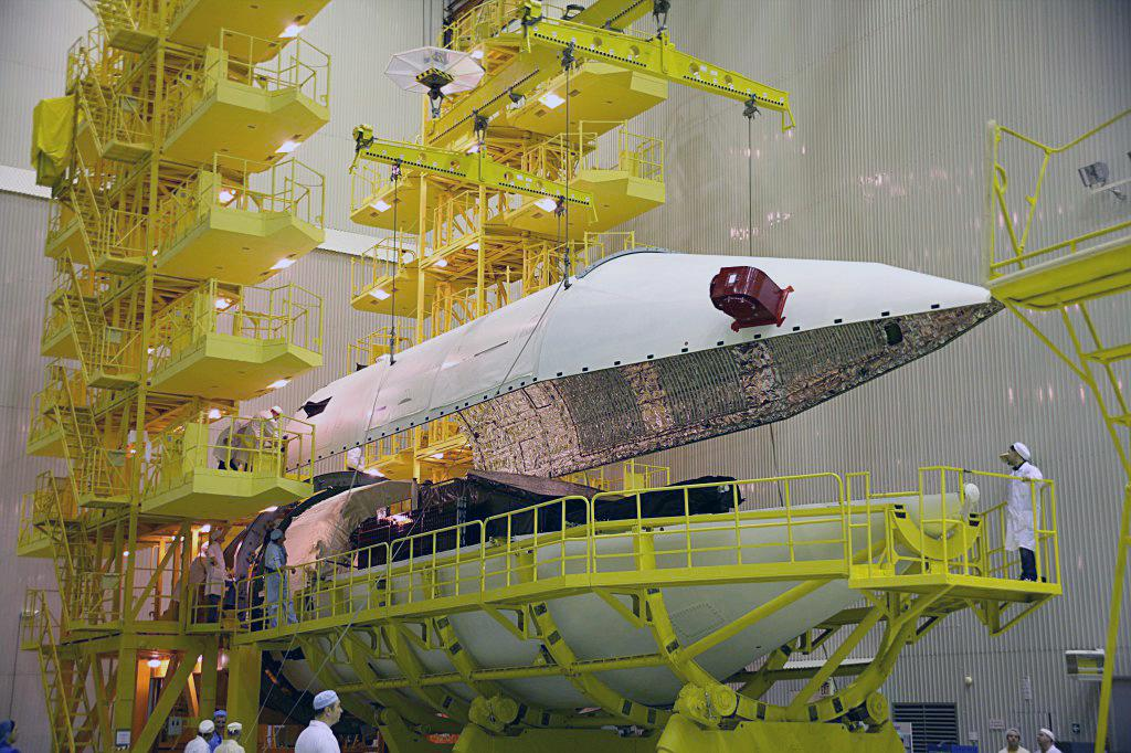 The Mexsat 1 satellite is enclosed inside the Proton rocket's payload fairing before Saturday's launch. Credit: Mexican Ministry of Communications and Transportation