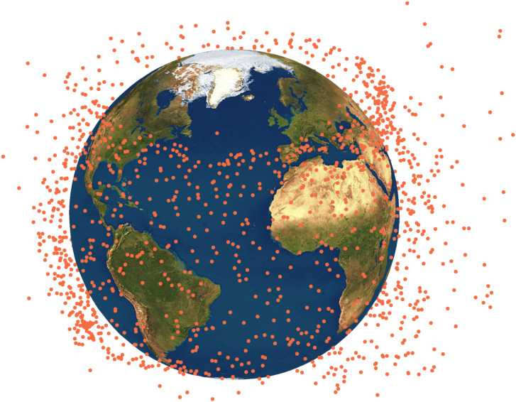 This rendering shows the spreading of the DMSP F13 fragmentation cloud to form a band of debris. The debris is represented in exaggerated size. Credit: University of Southampton