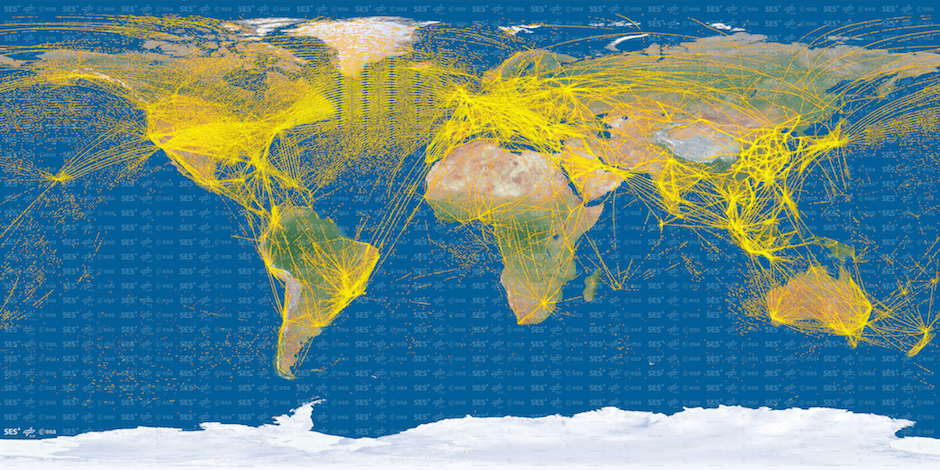 Aircraft positions picked up by ESA's Proba-V minisatellite, using an experimental Automatic Dependent Surveillance – Broadcast (ADS-B) receiver. These signals are regularly broadcast from aircraft, giving flight information such as speed, position and altitude. All aircraft entering European airspace are envisaged to carry ADS-B in the coming years. Credit: ESA/DLR/SES