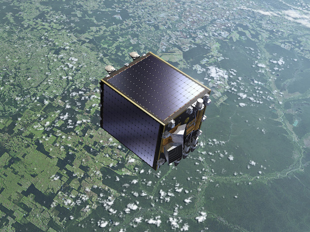 Artist's concept of the Proba-V satellite, which measures about the size of a kitchen oven and has a primary purpose of measuring vegetation growth from space. Credit: ESA
