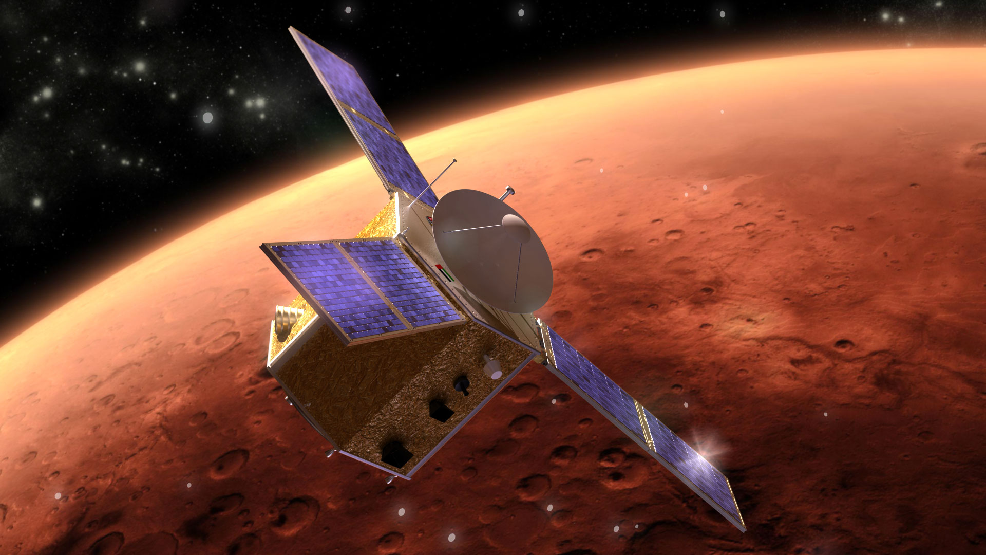 Artist's concept of the Emirates Mars Mission. Credit: Mohammed bin Rashid Space Center