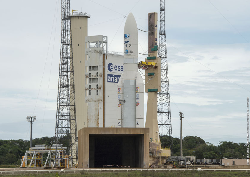 The Ariane 5 rocket loaded with DirecTV and Sky Mexico 1 rolled to the launch pad in French Guiana on Tuesday. Credit: ESA/CNES/Arianespace – Optique Video du CSG – S. Martin