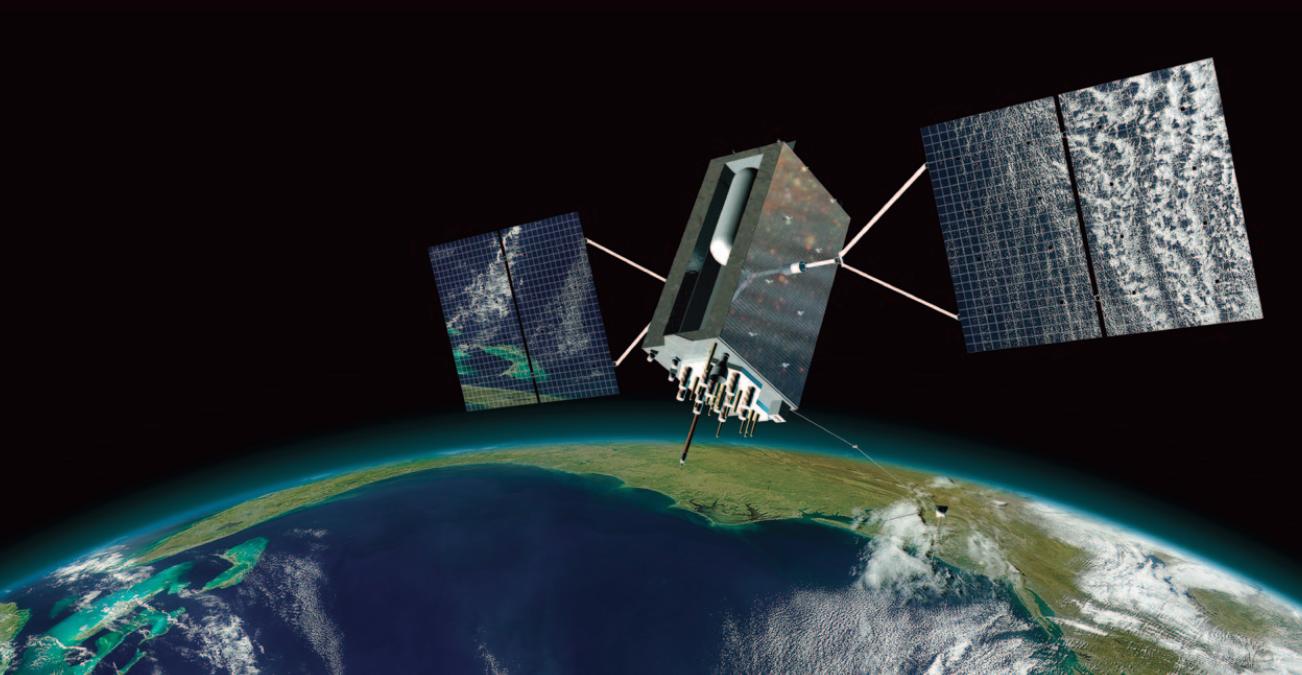 Artist's concept of a GPS 3 satellite. Credit: Lockheed Martin