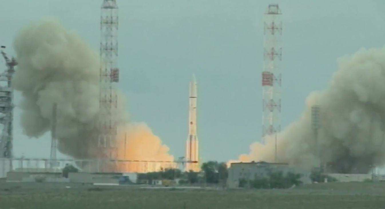 The Proton rocket lifted off at 0547 GMT (1:47 a.m. EDT; 11:47 a.m. local time) from the Baikonur Cosmodrome in Kazakhstan, but ran into trouble about eight minutes later. Credit: ILS TV/Spaceflight Now