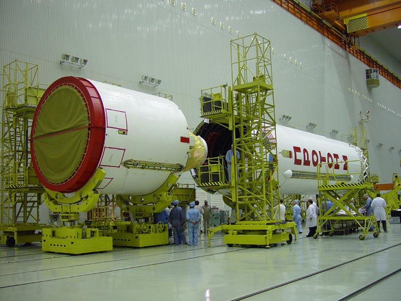 File photo of a Proton rocket's third stage (left) being integrated with the second stage (right). Credit: Khrunichev