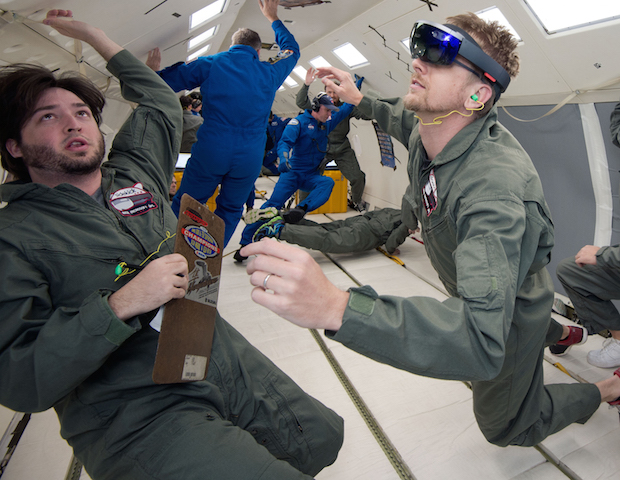 NASA and Microsoft engineers test the HoloLens on a zero-gravity research flight. Credit: NASA