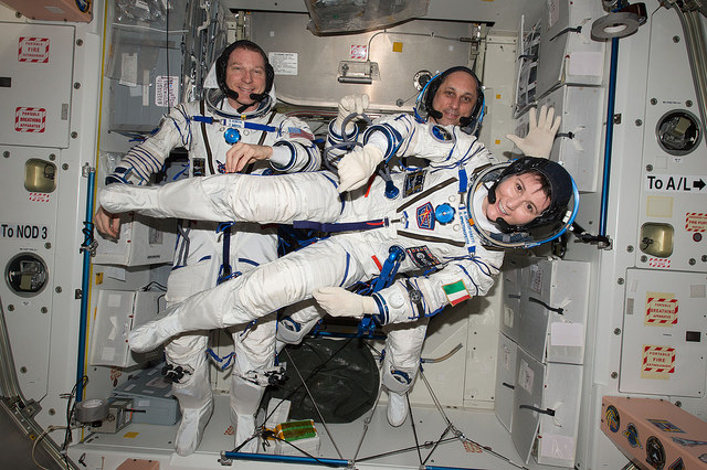 NASA astronaut Terry Virts, Russian Soyuz commander Anton Shkaplerov and Italian flight engineer Samantha Cristoforetti donned their Sokol spacesuits last month for a landing rehearsal exercise. Credit: NASA