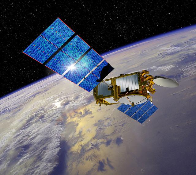 Artist's concept of the Jason 3 satellite in orbit. Credit: CNES
