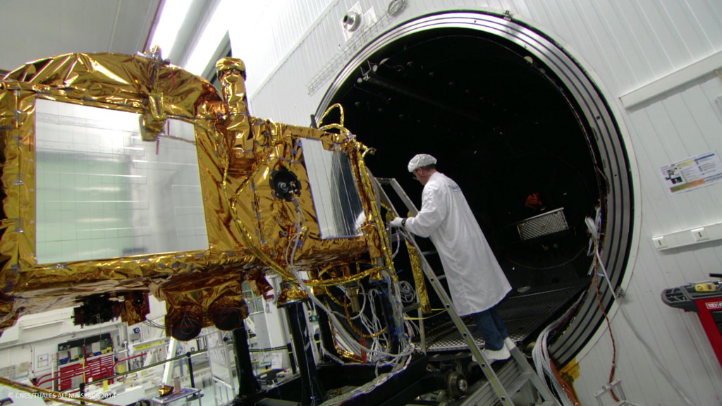 The Jason 3 satellite inside a clean room at its Thales Alenia Space factory in Cannes. Credit: CNES/Thales Alenia Space