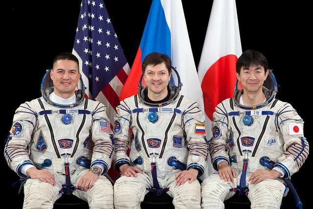 NASA astronaut Kjell Lindgren, Russian cosmonaut Oleg Kononenko and Japanese flight engineer Kimiya Yui will launch to the International Space Station in late July. Credit: NASA/GCTC