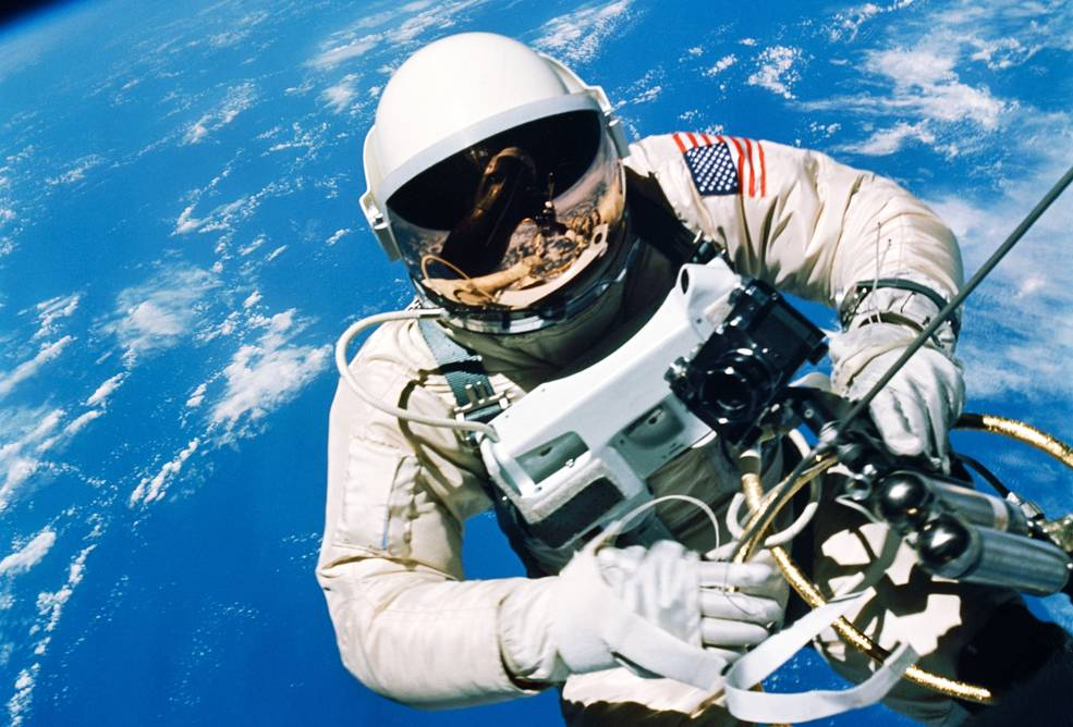 Astronaut Ed White stepped outside the Gemini 4 spacecraft on June 3, 1965, for the first U.S. spacewalk. Credit: NASA/Jim McDivitt
